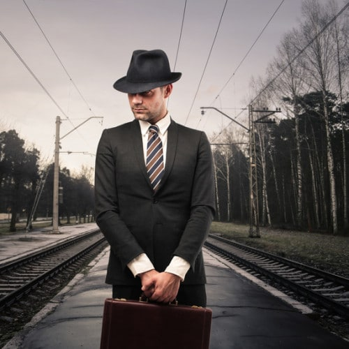 Businessman on Train tracks
