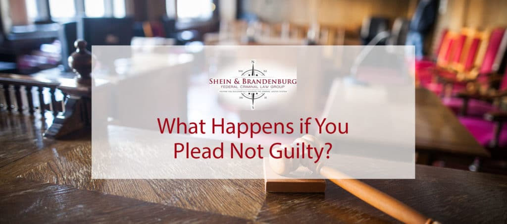 Person pleading not guilty in a courtroom.