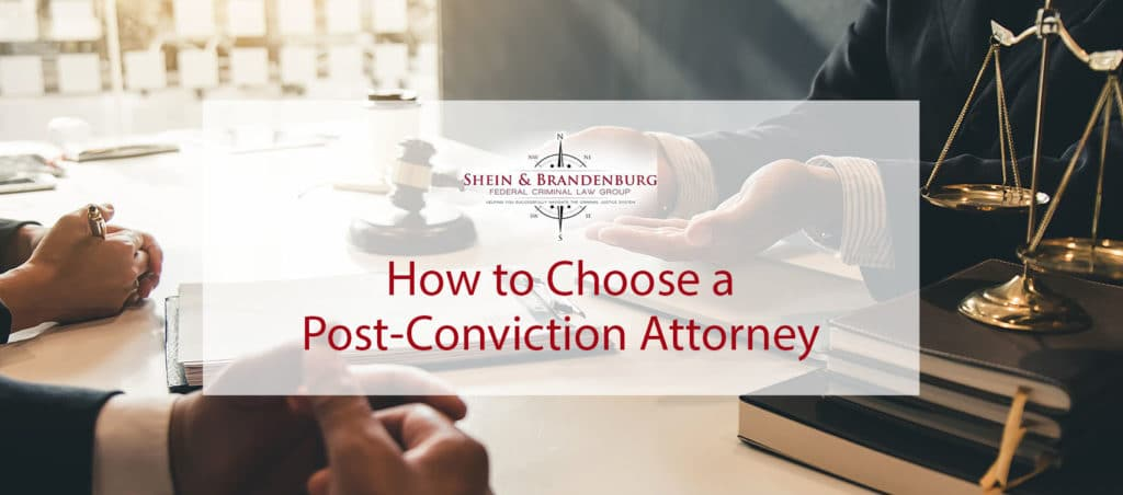 Post-conviction attorney working with a client.