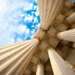 Looking up at the columns of the U.S. Supreme Court